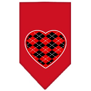 Argyle Heart Red Screen Print Bandana Red Small