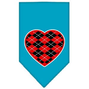 Argyle Heart Red Screen Print Bandana Turquoise Small