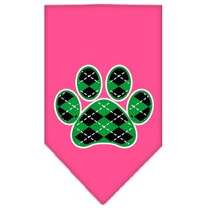Argyle Paw Green Screen Print Bandana Bright Pink Large