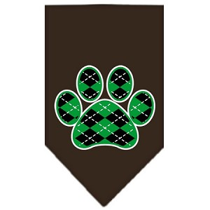 Argyle Paw Green Screen Print Bandana Cocoa Large