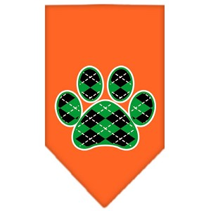 Argyle Paw Green Screen Print Bandana Orange Small