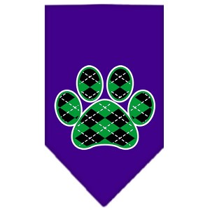 Argyle Paw Green Screen Print Bandana Purple Small