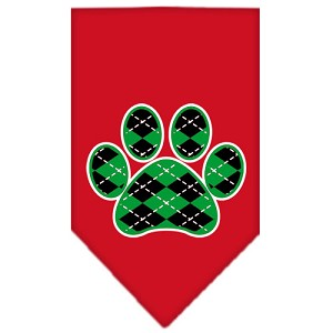 Argyle Paw Green Screen Print Bandana Red Large