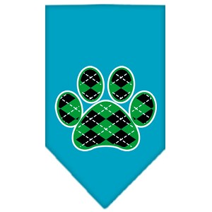 Argyle Paw Green Screen Print Bandana Turquoise Small