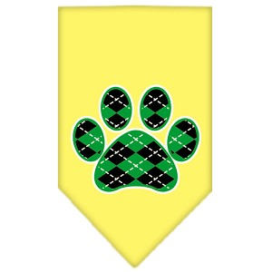 Argyle Paw Green Screen Print Bandana Yellow Large