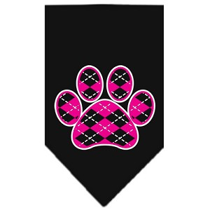 Argyle Paw Pink Screen Print Bandana Black Small