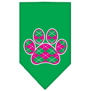 Argyle Paw Pink Screen Print Bandana Emerald Green Large