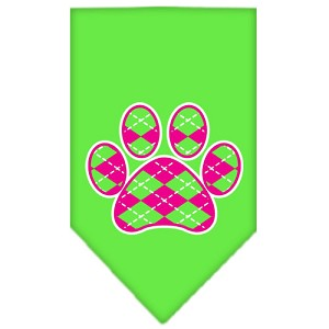 Argyle Paw Pink Screen Print Bandana Lime Green Small