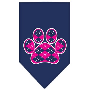 Argyle Paw Pink Screen Print Bandana Navy Blue large