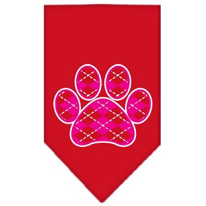 Argyle Paw Pink Screen Print Bandana Red Small