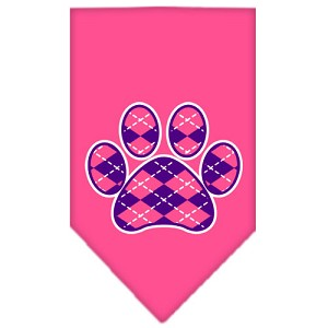 Argyle Paw Purple Screen Print Bandana Bright Pink Large