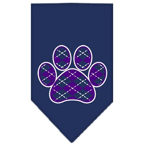 Argyle Paw Purple Screen Print Bandana Navy Blue Small