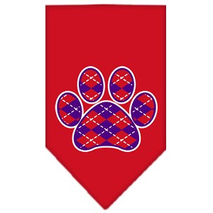 Argyle Paw Purple Screen Print Bandana Red Large
