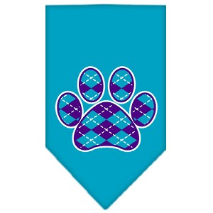 Argyle Paw Purple Screen Print Bandana Turquoise Large