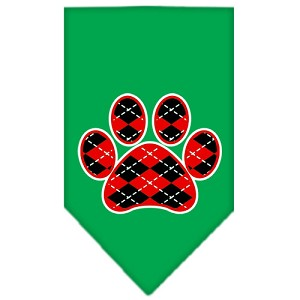 Argyle Paw Red Screen Print Bandana Emerald Green Small