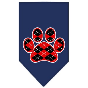 Argyle Paw Red Screen Print Bandana Navy Blue Small