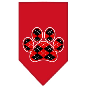 Argyle Paw Red Screen Print Bandana Red Large