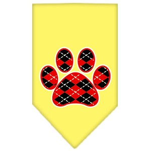Argyle Paw Red Screen Print Bandana Yellow Large