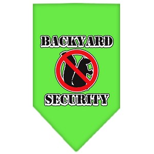 Backyard Security Screen Print Bandana Lime Green Large