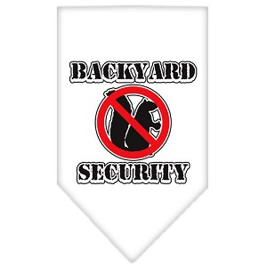 Backyard Security Screen Print Bandana White Small