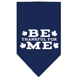 Be Thankful for Me Screen Print Bandana Navy Blue Small