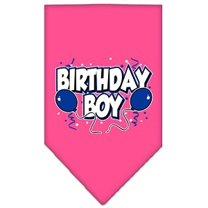 Birthday Boy Screen Print Bandana Bright Pink Small