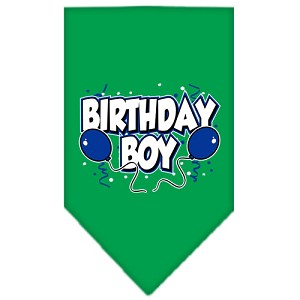 Birthday Boy Screen Print Bandana Emerald Green Small