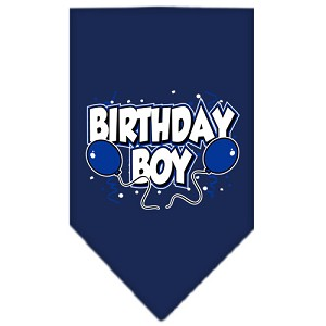 Birthday Boy Screen Print Bandana Navy Blue Small