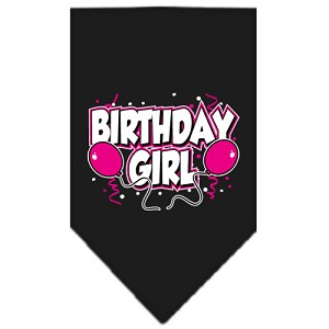 Birthday girl Screen Print Bandana Black Small