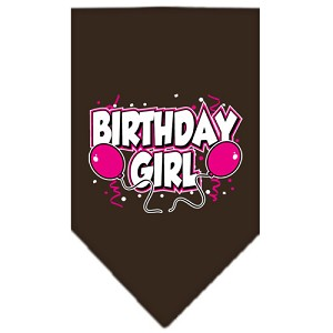 Birthday Girl Screen Print Bandana Cocoa Small