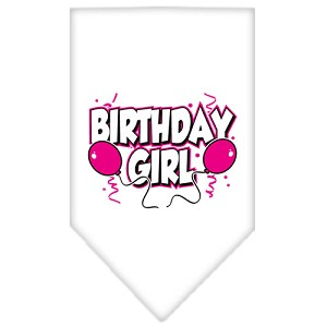 Birthday Girl Screen Print Bandana White Large