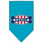 Bonely in America Screen Print Bandana Turquoise Small