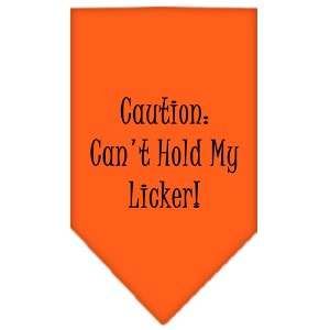 Can't Hold My Licker Screen Print Bandana Orange Large
