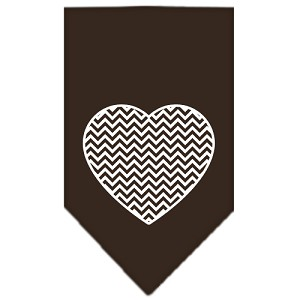 Chevron Heart Screen Print Bandana Brown Small