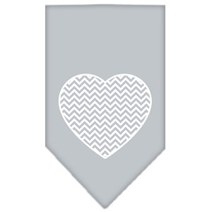 Chevron Heart Screen Print Bandana Grey Small