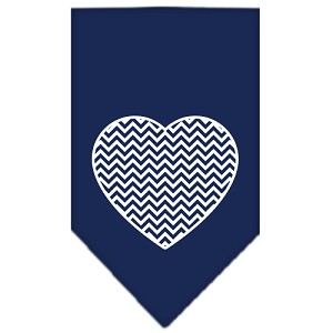 Chevron Heart Screen Print Bandana Navy Blue Small
