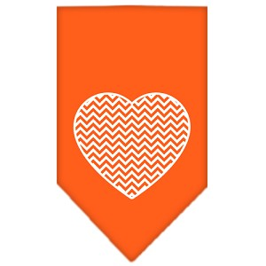 Chevron Heart Screen Print Bandana Orange Large
