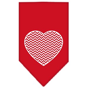 Chevron Heart Screen Print Bandana Red Small