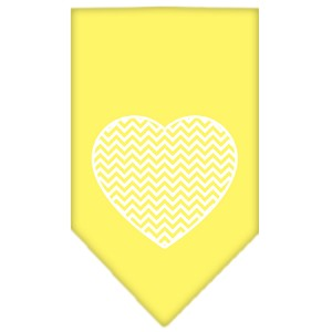Chevron Heart Screen Print Bandana Yellow Large
