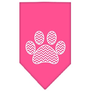 Chevron Paw Screen Print Bandana Bright Pink Small
