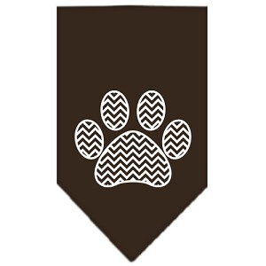 Chevron Paw Screen Print Bandana Brown Large