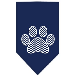 Chevron Paw Screen Print Bandana Navy Blue large