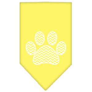 Chevron Paw Screen Print Bandana Yellow Small