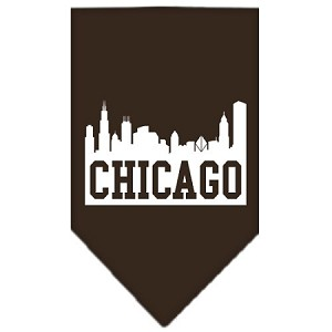 Chicago Skyline Screen Print Bandana Cocoa Large