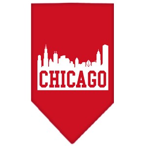 Chicago Skyline Screen Print Bandana Red Small