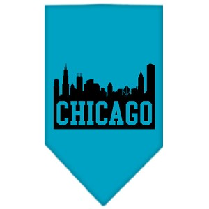 Chicago Skyline Screen Print Bandana Turquoise Small