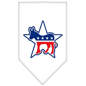 Democrat Screen Print Bandana White Small