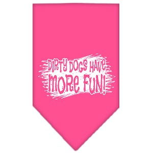 Dirty Dog Screen Print Bandana Bright Pink Large