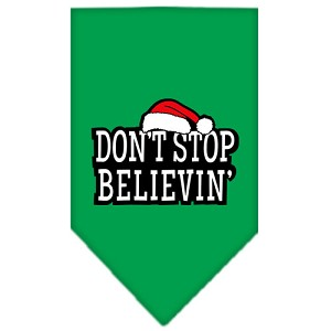 Dont Stop Believin Screen Print Bandana Emerald Green Small