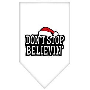 Dont Stop Believin Screen Print Bandana White Large